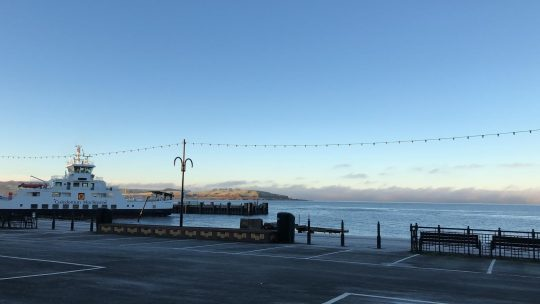 Ferry berthed at Largs Harbour