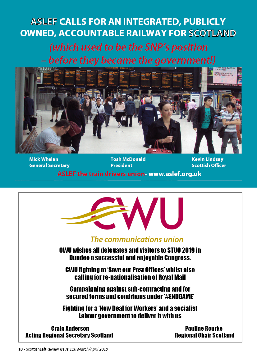 Half page Adverts for ASLEF and CWU