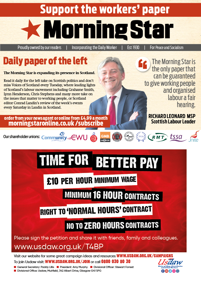 Half page Adverts for Morning Star and Usdaw