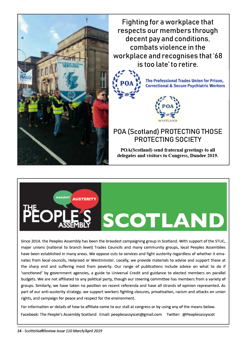 Half page adverts for People's Assembly Scotland and POA Scotland