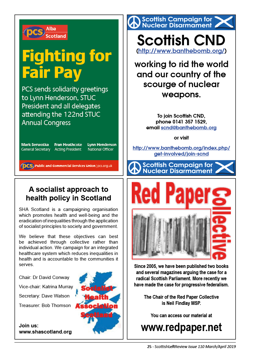 Quarter page adverts for PCS Scotland, Scottish CND, Socialist Health Association Scotland, Red Paper Collective